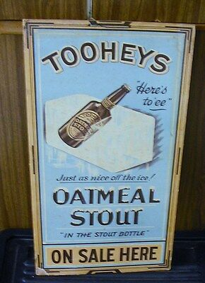 ORIGINAL 1930's TOOHEYS OATMEAL STOUT BEER PUB POINT OF SALE SIGN