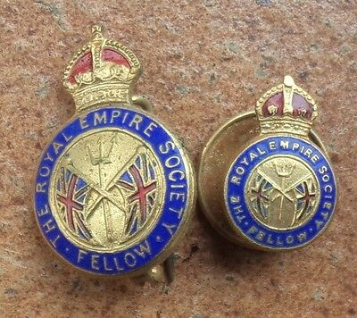 KINGS CROWN THE ROYAL EMPIRE SOCIETY FELLOW ENAMEL BADGES by ANGUS & COOTE