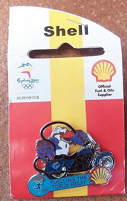 Sydney Olympic Games Fueling The Torch Relay Shell Badge On Card Motorcycle