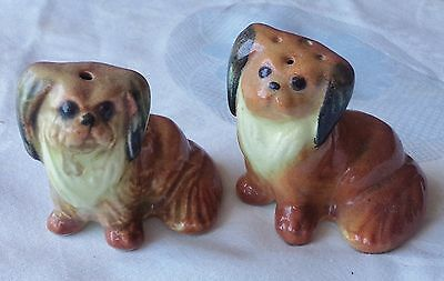 Darbyshire Pekingese Dogs Salt & Pepper Shakers Australian Pottery