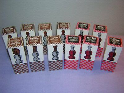 Lot of 12 Vtg Chess Piece Bottles in Boxes. After Shave