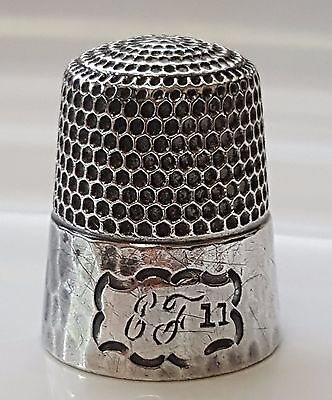 Antique Late 1800s Engraved Thimble – Simons Brothers Sterling Silver – Hammered
