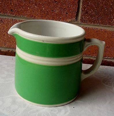 VINTAGE R FOWLER FOWLER WARE GREEN and WHITE LARGE JUG