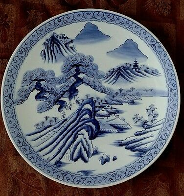 Gorgeous Antique Huge Oriental Blue & White Charger Plate - Grandmothers Estate