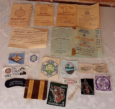 1960/70's AUSTRALIAN GIRL GUIDES BROWNIES PATCHES & CARD LOT