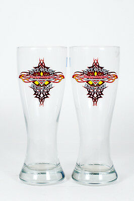 "2 Harley Davidson Vegas Cafe ""live Hard Ride Easy"" Tall Pilsner Beer Glasses"