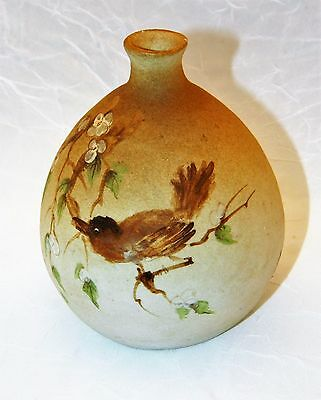 ~ Old Diminuitive ASIAN HANDWORK Pottery VASE Handpainted BIRD, SCRIPT SIGNED ~