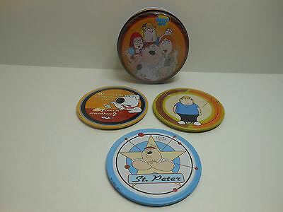 Family Guy Collectible Coasters in Tin Storage Container 3 Coasters (Series 1)