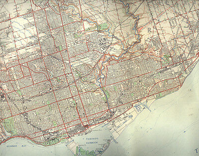 1949 MAP OF TORONTO, ONTARIO, CANADA National Topographic Series, 3rd Edition