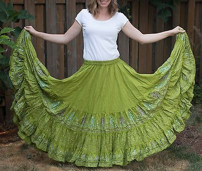 Green tiered embroidered skirt 18+ yards belly dance tribal ATS fusion gypsy