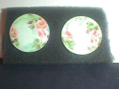 "PAINTED Porcelain BUTTON 1 5/16"" ROSES FLORAL  Flowers"