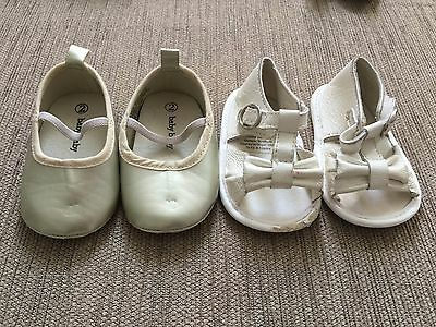 2 x Size 1 Baby Girl Shoes - Gold and White Sandle