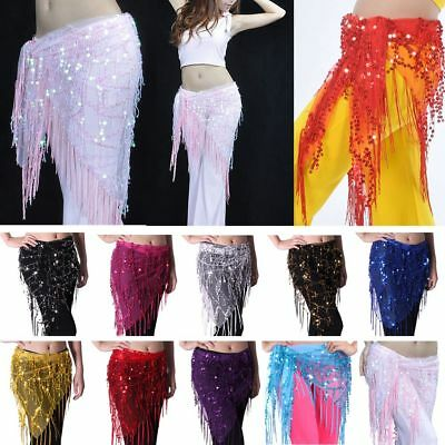 Belly Dance Triangle Skirt Bead Sequins Fringe Tassel Mesh Hip Scarf Belt Wrap
