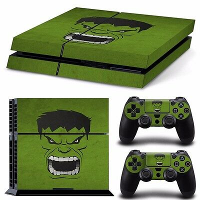 PS4 playstation console  skins set    INCREDIBLE HULK MARVEL     AUSSIE SELLER