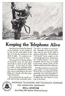 1924 American Telephone, Bell: Keeping the Telephone Alive (24681) Print Ad