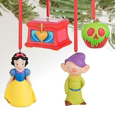 Disney Store Snow White and the Seven Dwarfs Sketchbook Mini Ornament Set B7 NEW