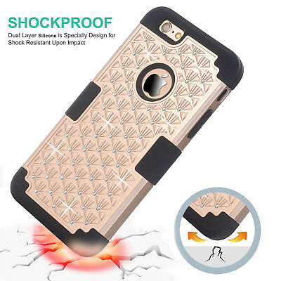 """Shockproof Rugged Hybrid Rubber Hard Cover Case for iPhone 6 4.7""""+Screen Protect"""