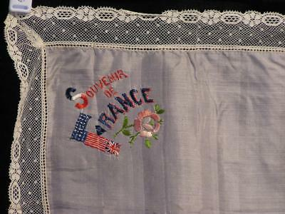 WWI Souvenir de France with Rose Embroidered Sheer Silk Lace Framed Handkerchief