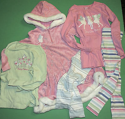 Girls Sz 7 GYMBOREE 5pc Set Velvet Pink Fairy Princess Hoodie Dress Tops Legging