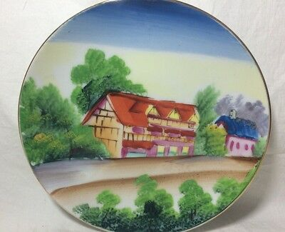 """Vintage Hand painted Small Decorative Made In Japan 6"""" Plate - Japanese Building"""