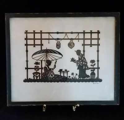 Antique Japanese Geisha Stencil Framed Original Signed Blecks 8.5x10""