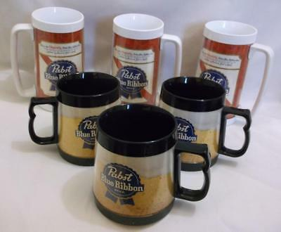 Vintage~Pabst Blue Ribbon~Insulated~Beer Mugs~Steins~Lot Of 6~Thermo-Serv~Vgc!