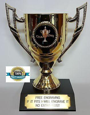 EIGHTBALL CHAMPION TROPHY CUP, MEDAL, BLACK BASE ,140mm High, FREE ENGRAVING