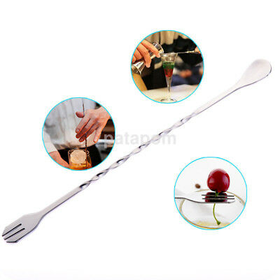 Stainless Steel Double End Mixing Spiral Pattern Bar Cocktail Shaker Spoon Fork