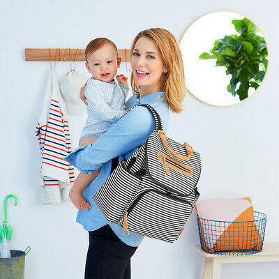 New Skip Hop Grand Central Diaper Nappy Bag Backpack Black Stripe Free Express S