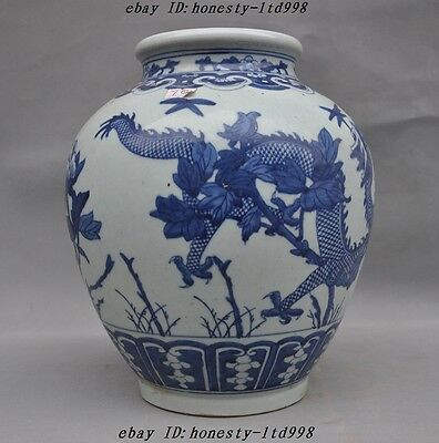 old china blue&whute porcelain carved 2 Dragon peony statue jar pot Tanks Crock