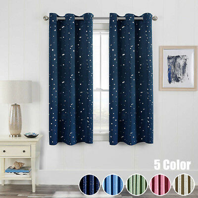 "Star Printed Room Darkening Blackout Short Curtain Ring Top Blind 39x47"" 1 Piece"