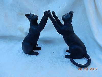 Vintage  Antique Heavy Iron Metal Cat Stunning Bookends