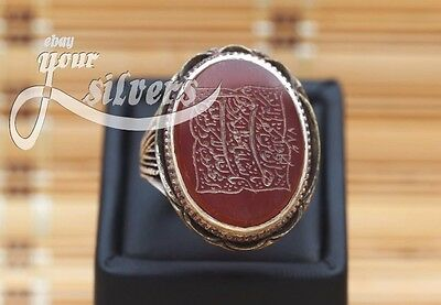 Rare islamic Ring 925 Sterling Silver Authentic Yemeni Aqeeq Real hand engrave 2
