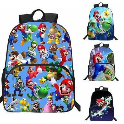 UK Super Mario Bros Bag Backpack Student Boy Girl Kid Schoolbag 3D Rucksack 15""