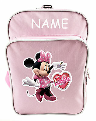 Littlies Kids Children Girls Pink Minnie Mouse School Backpack Bag With Name