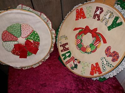 Lot of TWO, handmade, Merry Christmas decorative pieces
