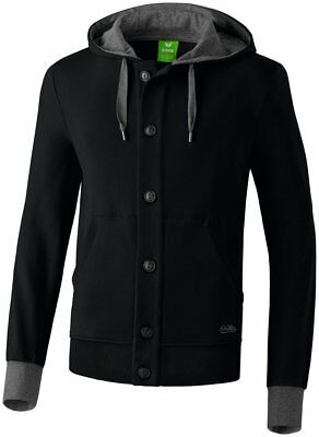 Erima Kids Sports Casual Hooded Jacket Button Up Track Top Black Grey