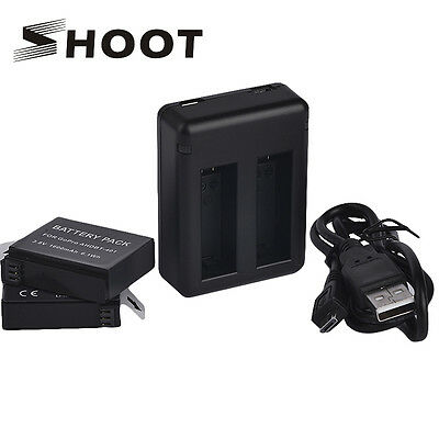 2Pcs 1160mAh Rechargeable Battery+Dual USB Charger f GoPro Hero 4 Black&Silver