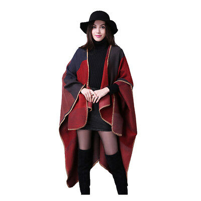 Women's New Retro Fashion Shawl Loose Scarf Winter Large Blanket Wrap Shawl-Red
