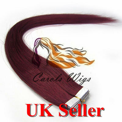 8A* Best Quality 18'' Tape-In Bug 100% Russian Remy Human Hair Extensions UK 1st