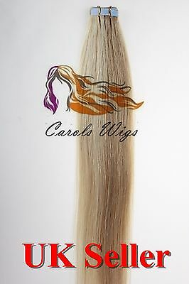 7A* Tape Skin 18'' Strawberry Blonde mix Russian Remy Human Hair Extensions UK