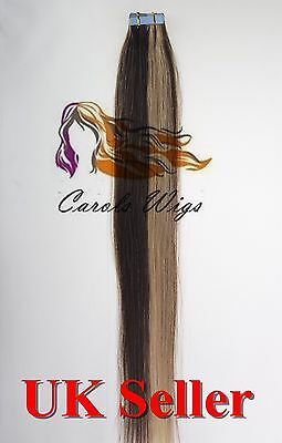 8A* Tape Skin 18'' Medium Brown Blonde mix Russian Remy Human Hair Extensions UK