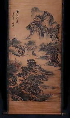 Vintage Chinese Old Scroll Handwork Painting Landscape Marks ShiTao KK634