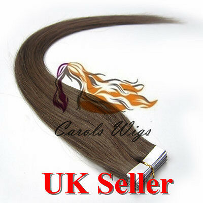 8A* Best Quality 18'' Tape-In Ash Brown Russian Remy Human Hair Extensions UK