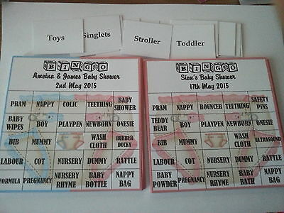 Personalised Baby Shower Game - BINGO - 20 Guests FREE POSTAGE