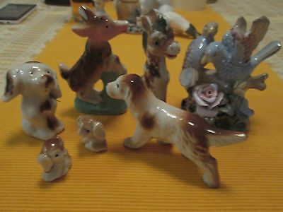 VINTAGE 1960s JAPAN GROUP of 7 ORNAMENTS-4x DOGS.1 QUALITY BIRD&  2HORSE.AS IS.