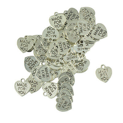 50pcs MADE FOR YOU Letter Engraved Pendant Necklace Bracelet Jewelry DIY