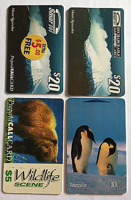 Phonecards New Zealand Smartel Mount Ngauruhoe Bear Wildlife Emperor Penguins