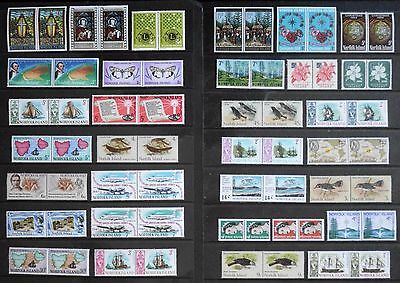 NORFOLK ISLAND - mixed mint decimal collection, joined pairs, MNH MUH