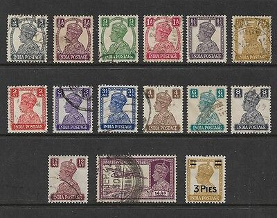 INDIA - 1940 King George VI KGVI, set of 14 + 1946 surch, No.2